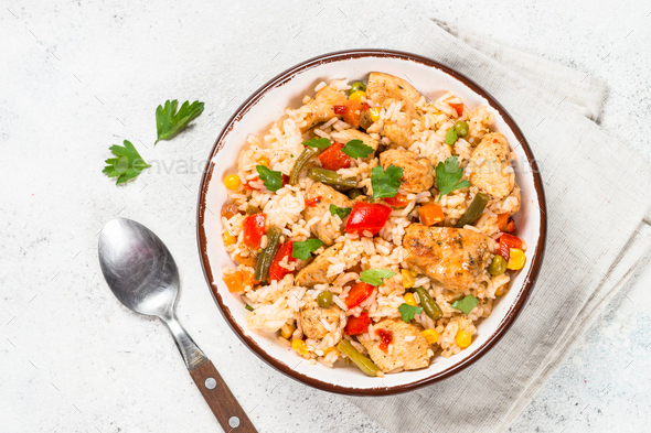 Rice with chicken and vegetables top view - Stock Photo - Images