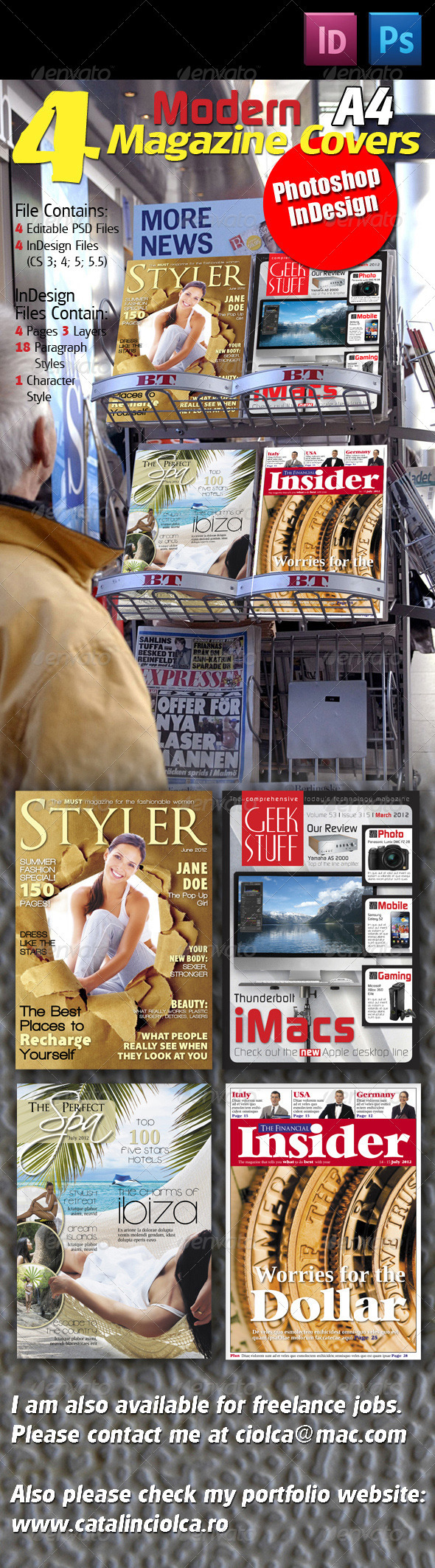 4 Modern Magazine Covers - Magazines Print Templates