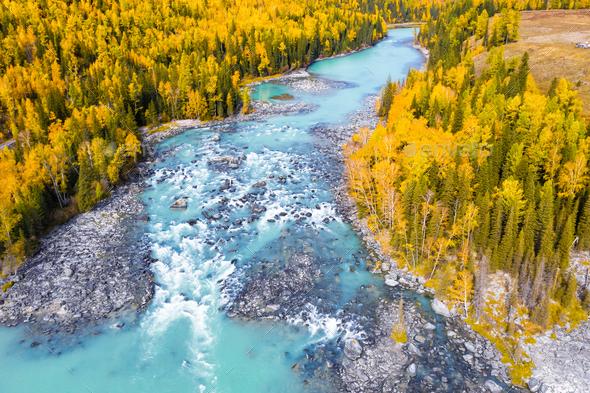 kanas landscape in autumn - Stock Photo - Images