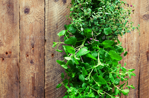 Collection of fresh organic herbs (melissa, mint, thyme, basil, parsley) on wooden background - Stock Photo - Images
