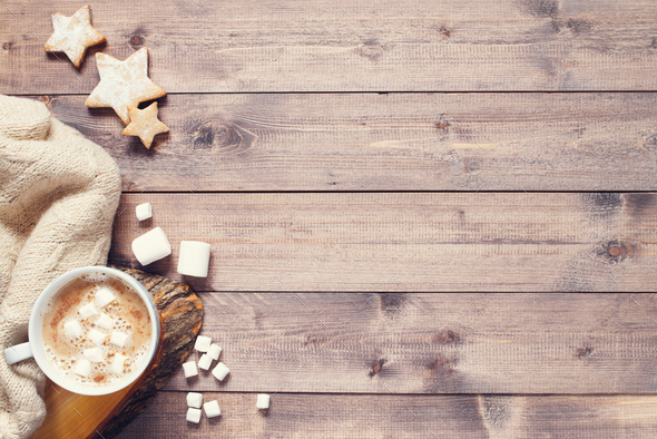 Cup of Hot Cocoa with Marshmallow on the Wooden Table - Stock Photo - Images