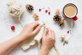 Knitting and Cup of Coffee on the White Table - PhotoDune Item for Sale