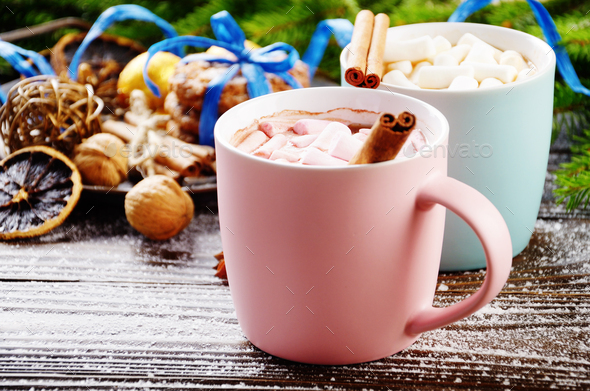 Christmas background of two mugs of hot chocolate with marshmall - Stock Photo - Images
