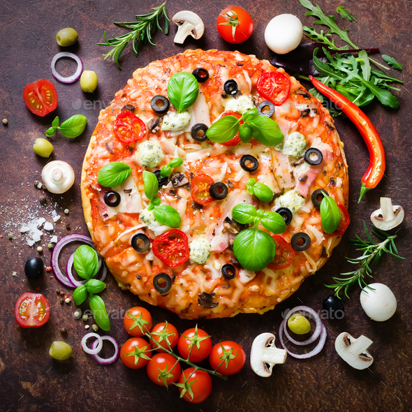 Food ingredients and spices for cooking mushrooms, tomatoes, cheese, onion, oil, pepper, salt, basil - Stock Photo - Images