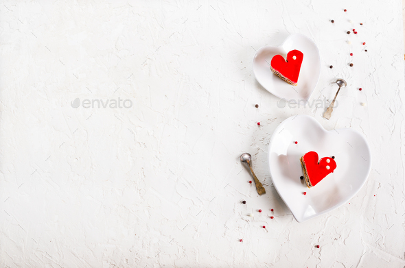 Two jelly heart-shaped cakes on white concrete background. Free space for your text - Stock Photo - Images
