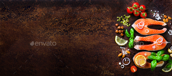 Salmon fillet, fish on wooden background with free space for your text. Top view. Healthy food, diet - Stock Photo - Images