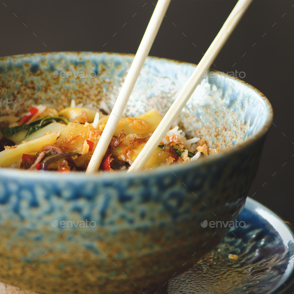 Asian rice with pork, Mu-err mushrooms, napa cabbage, pickled bamboo shoots, spinach, Teriyaki - Stock Photo - Images