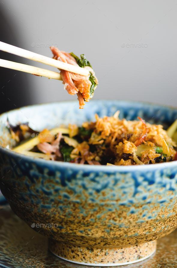 Asian rice with pork, Mu-err mushrooms, napa cabbage, pickled bamboo shoots, spinach, Teriyaki - Stock Photo - Images