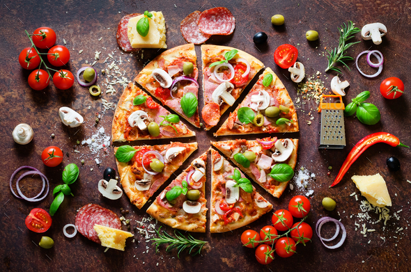 Food ingredients and spices for cooking delicious italian pizza. Mushrooms, tomatoes, cheese, onion - Stock Photo - Images