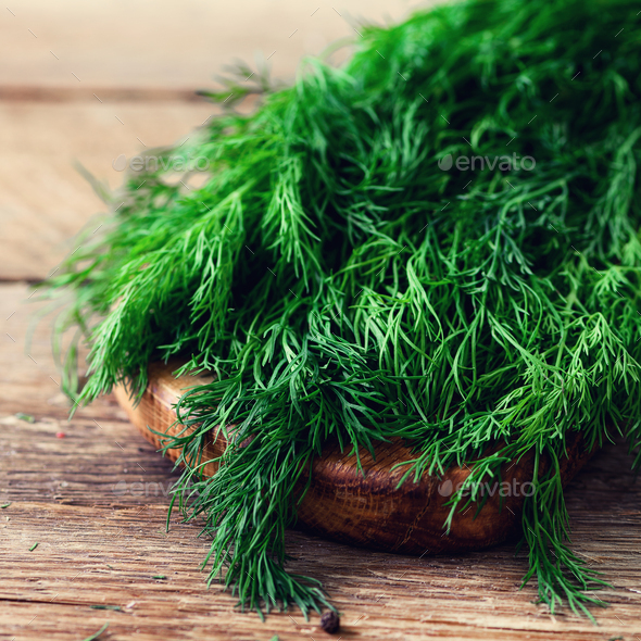 Bunch of fresh organic dill on wooden background with copyspace, rustic and vintage style, selective - Stock Photo - Images