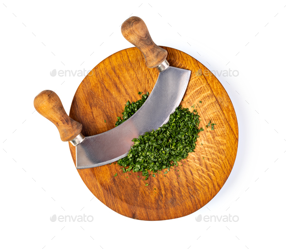 Chopping parsley - Stock Photo - Images