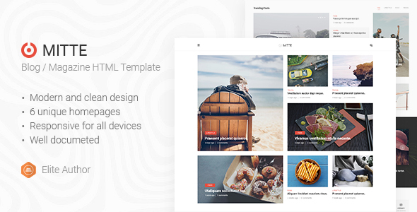 Mite - Simple Blog HTML5 Template by Nunforest