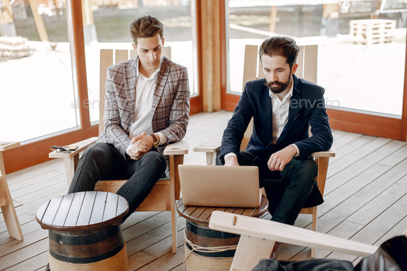 Two businessmen working at the office - Stock Photo - Images