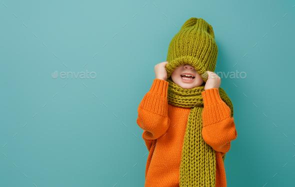 Winter portrait of happy child - Stock Photo - Images