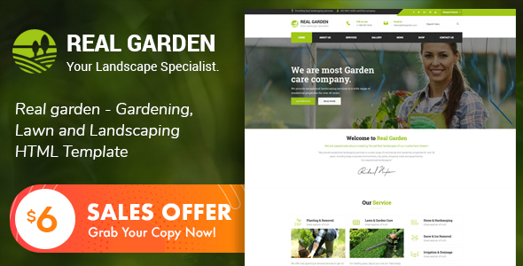 Real Garden - Gardening & Landscaping HTML Template