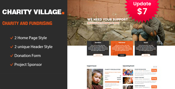 Charity Village - Responsive HTML Template for Fund Raising