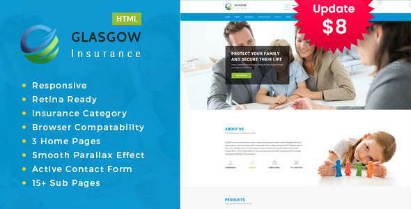 Glasgow– Insurance Agency HTML template