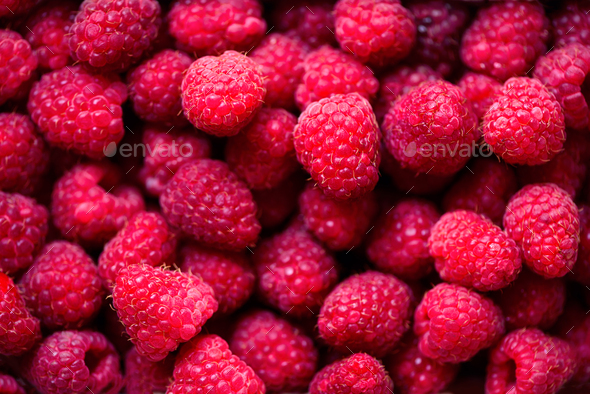 Fresh raspberries background with copy space. Top view. Vegan and vegetarian concept. Summer healthy - Stock Photo - Images