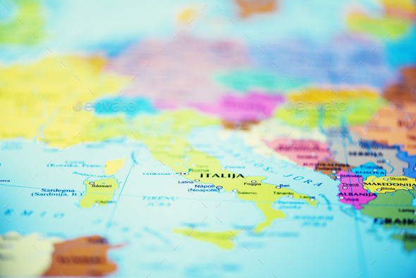Travel concept. Top view, copy space. Country and travel destination pinned on map - Stock Photo - Images