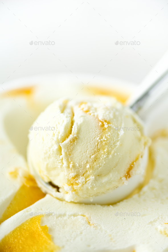 Vanilla ice cream scoop background. Summer food concept, copy space, top view. Scooped texture - Stock Photo - Images