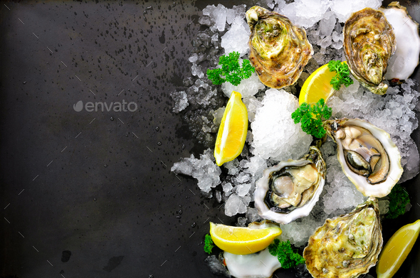 Fresh opened oysters, lemon, herbs, ice on dark metal background. Top view, copy space - Stock Photo - Images