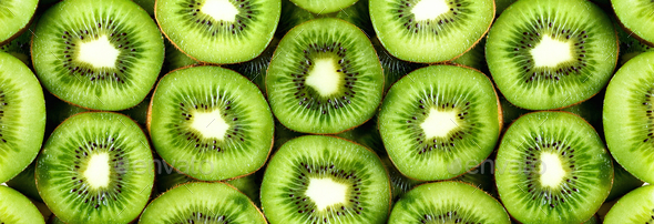 Fresh organic kiwi fruit sliced. Food frame with copy space for your text. Banner. Green kiwi - Stock Photo - Images