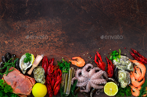 Seafood background - fresh mussels, molluscs, oysters, octopus, razor shells, shrimps, crab - Stock Photo - Images