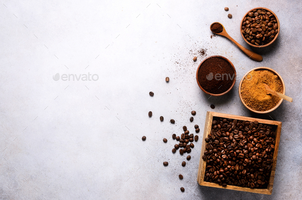 Ingredients for making caffeine drink - brown coconut sugar, coffee beans, ground and instant coffee - Stock Photo - Images