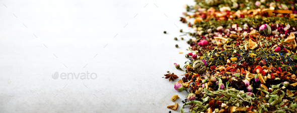 Tea background: green, black, floral, herbal, mint, melissa, ginger, apple, rose, lime tree, fruits - Stock Photo - Images