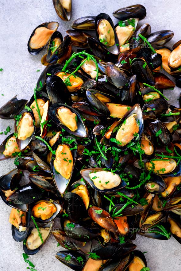 Mussels on stone concrete background. Top view, copy space - Stock Photo - Images