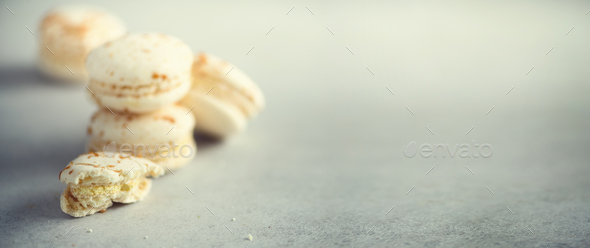 Vanilla caramel macarons, copy space. Holidays and celebrations concept. Sweet gift for woman, girl - Stock Photo - Images