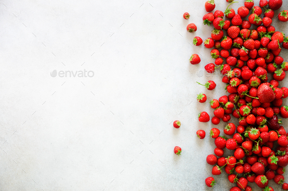 Fresh organic strawberries background with copy space. Top view. Summer, vitamin, vegan, vegetarian - Stock Photo - Images