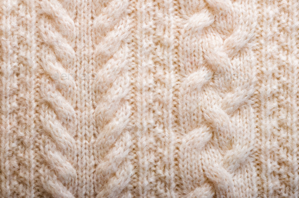 Knitted texture. Pattern fabric made of wool. Background, copy space - Stock Photo - Images