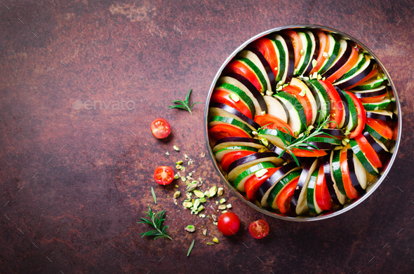 Ratatouille. Traditional homemade vegetable dish. Vegetarian vegan food. Copy space. Banner - Stock Photo - Images