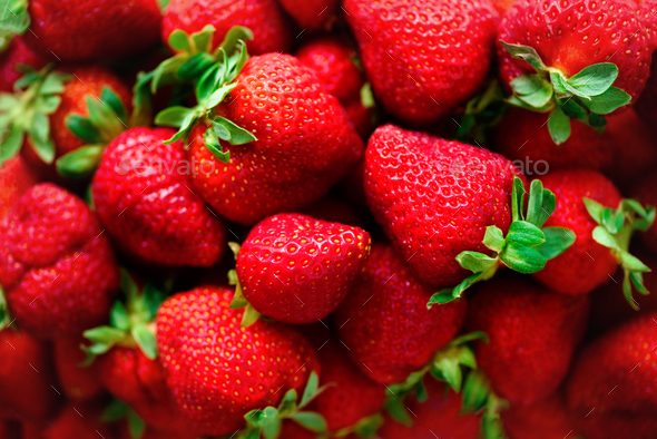 Organic strawberries background with copy space. Top view. Vegan and vegetarian concept. Berries - Stock Photo - Images