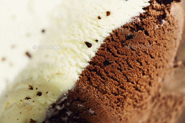 Scooped vanilla and chocolate ice cream background. Summer food concept, copy space, top view. Sweet - Stock Photo - Images