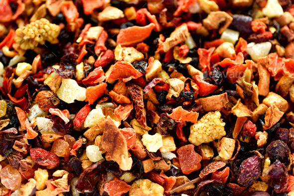 Mix tea karkade with dried fruits and flowers. Fruit tea background and texture. Top view. Food - Stock Photo - Images
