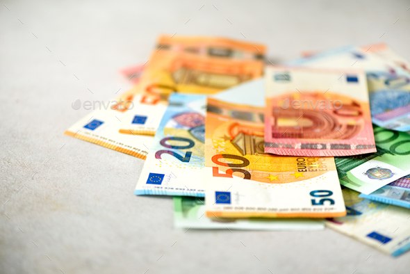 Euro currency money banknotes background. Payment and cash concept. Announced cancellation of five - Stock Photo - Images