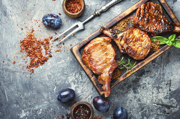 Pork ribs grilled - Stock Photo - Images