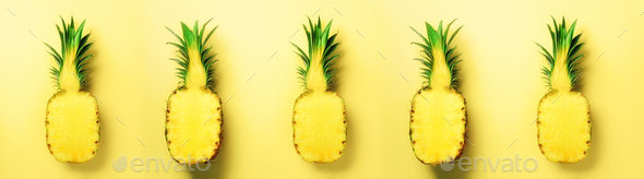 Bright pineapple pattern for minimal style. Top View. Pop art design, creative concept. Copy Space - Stock Photo - Images