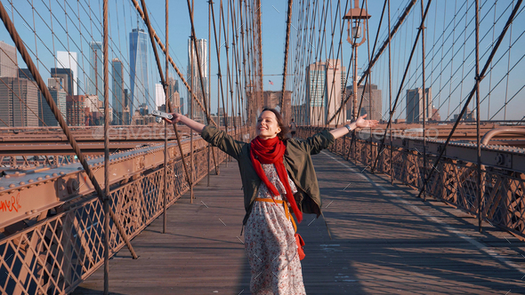 Happy young girl in NYC - Stock Photo - Images