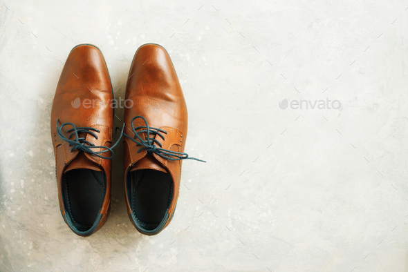 Top view of fashion male shoes on gray background. Sale and shopping concept. Copy space - Stock Photo - Images
