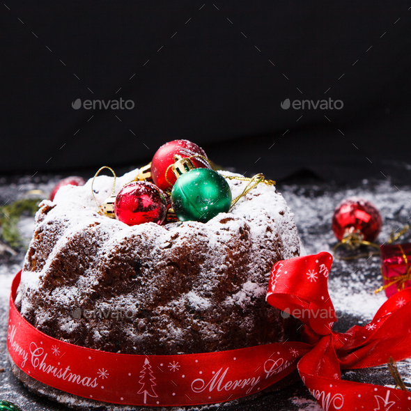Traditional Christmas Fruit Cake - Stock Photo - Images
