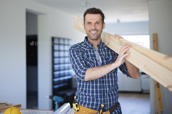 Wood desks for new bookshelf in good hands - Stock Photo - Images