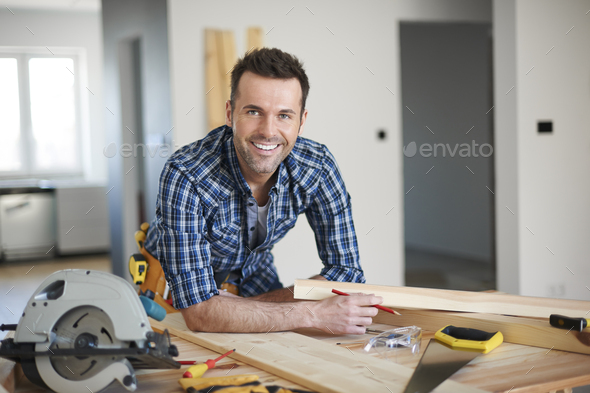 He is the best carpenter in town - Stock Photo - Images
