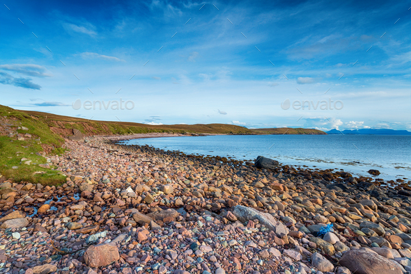 The pebble beach at Raffin on Stoer Head - Stock Photo - Images