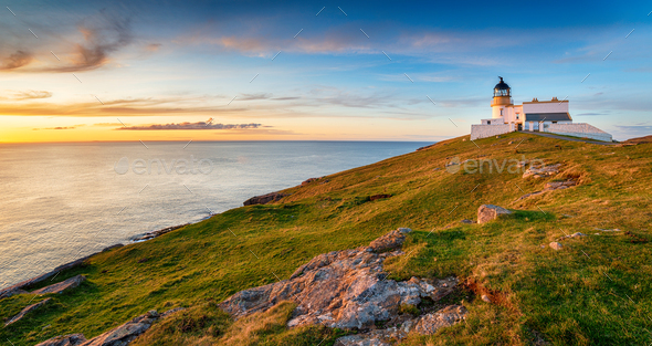 Sunset at Stoer head lighthouse in Scotland - Stock Photo - Images