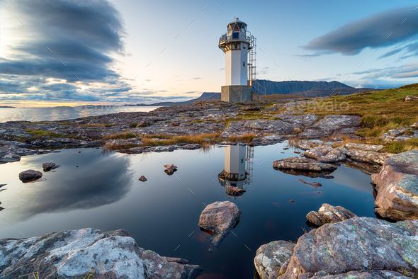 Dusk at Rhue lighthouse near Ullapool - Stock Photo - Images