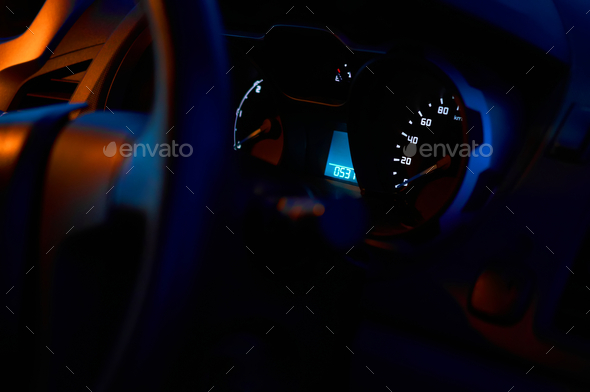 Side view of car dashboard - Stock Photo - Images