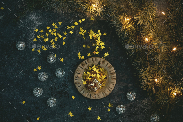 Christmas golden stars - Stock Photo - Images